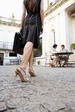 Businesswoman legs walking to meeting. Stock Image