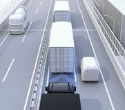 Rear view of autonomous truck fleet driving on highway. 3D rendering image stock illustration