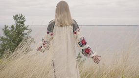 Rear view at awe caucasian woman wearing long summer fashion dress standing on the field on the background of a lake or. River. Cute African American girl stock video footage