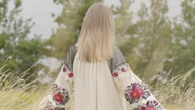 Rear view at cute caucasian woman wearing long summer fashion dress standing on the field on the background of a lake or. Rear view at awe caucasian woman stock video footage