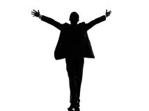 Rear view back business arms outstretched man silhouette Royalty Free Stock Photography