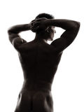 Rear view back handsome naked muscular man silhouette Stock Photography