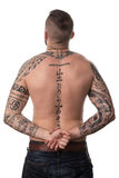Rear View Of Back Tattooed Man. Back Rear View Tattooed Male On Isolated White Background Stock Photo