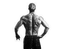 Rear View Of Back Tattooed Man. Back Rear View Tattooed Male On Isolated White Background Royalty Free Stock Photo