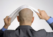 Rear view from a bald head Royalty Free Stock Image