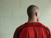 Rear View Of Bald Soccer Player Stock Photography