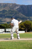 Rear view of batsman playing cricket at field Stock Photography