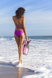 Rear View Beautiful Bikini Woman At Beach Stock Image