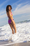 Rear View Beautiful Bikini Woman At Beach Stock Photos