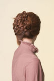 Rear view of a beautiful coiffure from pigtails Stock Photos