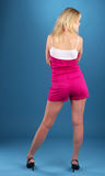 Rear view of beautiful young blond royalty free stock image