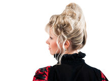 Rear view of beauty hairstyle isolated Stock Photos