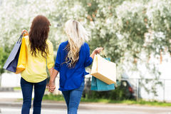Rear view of blond and brunette walking holding hands Royalty Free Stock Images
