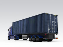 Rear view of blue container truck isolated on gray background Stock Photos
