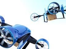 Rear view of blue VTOL drones carrying delivery packages flying in the sky. 3D rendering image Stock Image