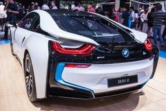 Rear view of BMW i8 a plug-in hybrid sports car Stock Photo