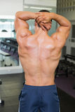Rear view of bodybuilder posing in gym Stock Photos