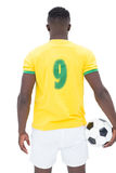 Rear view of Brazilian football player Royalty Free Stock Photos