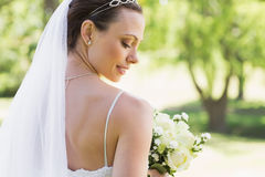 Rear view of bride with flowers in garden Royalty Free Stock Photos