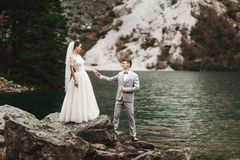 Rear view of bride and groom, standing on the lake shore with scenic mountain view in Poland. Morskie Oko stock photography