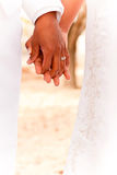 Rear view of a Bride and groom on their wedding day. Stock Photo