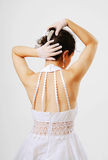 Rear view of bride preening Royalty Free Stock Photos
