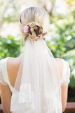 Rear view of bride in a veil Royalty Free Stock Images