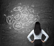 Rear view of brunette woman who is looking at the black chalkboard with drawn connected business icons. The concept of a communica Stock Image