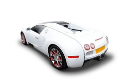 Rear view of Bugatti Veyron sports car. Rear view of white luxury Bugatti Veyron sports car Stock Photo