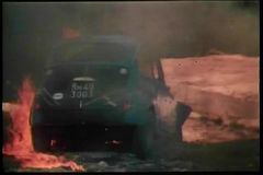 Rear view of burning car stock video footage