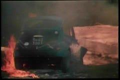 Rear view of burning car