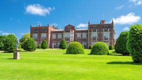Rear view, Burton Constable Hall, Yorkshire, England. The rear of the historic Burton Constable Hall. There has been a Constable dwelling on this site since the royalty free stock images