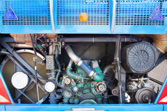 Rear view of bus engine open cover door show indise for maintena Royalty Free Stock Photography