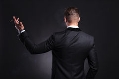 Rear view of business man with cigar Royalty Free Stock Photos