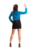 Rear view of business woman showing middle finger Royalty Free Stock Photos