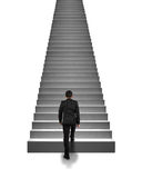 Rear view businessman climbing on stairs  in white Stock Images
