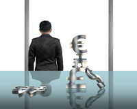 Rear view businessman gazing outside. With stacking money symbols Royalty Free Stock Images