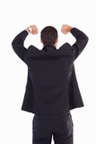 Rear view of businessman standing with arms raised Royalty Free Stock Images