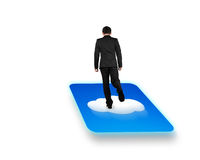 Rear view businessman standing on cloud icon with white background stock photo