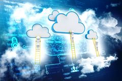 Cloud Computing digital Illustration, technology background. Rear view of businessman standing on ladder and reaching cloud. A competition concept, clouds with Royalty Free Stock Images