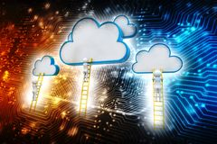 Cloud Computing digital Illustration, technology background. Rear view of businessman standing on ladder and reaching cloud. A competition concept, clouds with Stock Images