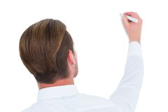 Rear view of businessman writing with marker Stock Image