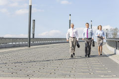 Rear view of businesspeople walking on bridge Royalty Free Stock Images
