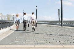 Rear view of businesspeople walking on bridge Stock Photos