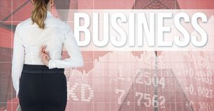 Rear view of businesswoman crossing fingers with text in background. Digital composite of Rear view of businesswoman crossing fingers with text in background Stock Photos
