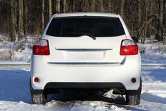 Rear view of car. In winter forest stock images