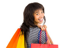 Rear view of a casual woman holding shopping bags Royalty Free Stock Photos