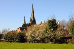 Rear view of Cathedral, Lichfield, England. Stock Photo
