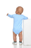 Rear view of caucasian full body one year infant baby boy toddle Royalty Free Stock Images