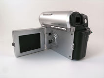 Rear view of a compact consumer camcoder. With lcd screen flipped off Royalty Free Stock Photos